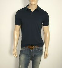 NEW John Varvatos Short Sleeve Polo in Blue Size MEDIUM Cotton/Elastane