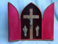 Antique 1912 Stamped Travel Triptych Altar Crucifix