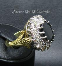 Estate 18ct Gold Fleur De Lys 3.8ct Sapphire & 2.0ct Diamond Cluster Ring Size O