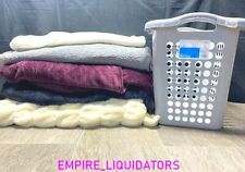 Assorted Super Soft Heavy Blankets - Various Sizes & Colors + Tall Gray Hamper
