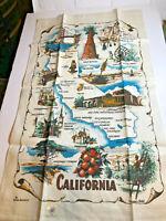 Vintage Kay Dee California Souvenir Linen Dish Tea Towel Richard Batchelder