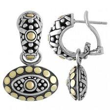 Authentic John Hardy Dot Jaislmer 925 18ky gold drop hoop dangle earrings