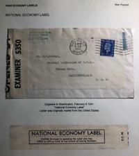 1941 Edgware England War Economy Label Censored Cover To Washington Dc Usa