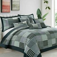 3PCs Patchwork Quilted (check) Bedspread Bed Throw Comforter with Pillow Shams