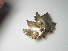 """Vintage Gold Tone Double Maple Leaf Brooch with Prong-Set Faux Pearls, 2"""""""