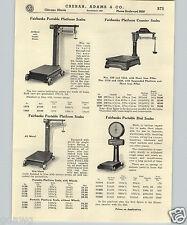 1937 PAPER AD Fairbanks Dial Scale Warehouse Platform Marshalltown Brick Hammer