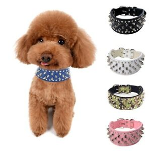 Dog Collar Puppy Punk Spiked Rivets Faux Leather Neck Strap Adjustable Buckle