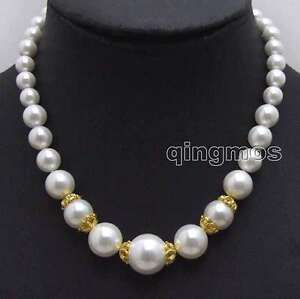"SALE Big 8-16mm High Quality White Round Sea shell Pearl 17"" necklace-nec6020"