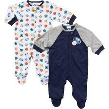 Gerber Boys 2-Pack Sports Sleep 'N Plays Zip Front Size 0-3M BABY CLOTHES GIFT