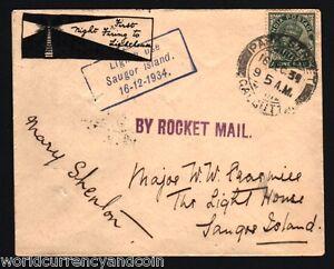 INDIA 1934 KING GEORGE V SAUGOR ISLANDS ROCKET MAIL FLOWN SIGNED HISTORY COVER