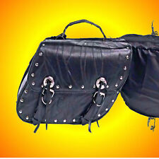 Leather Motorcycle Saddle Bag Set of 2-Free Rain Covers--Fits About Any Bike