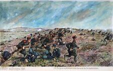 A) Gemälde Schlacht Bulgaren Benderew Triuschi-Höhen Sliwnitza H. Sattler ~1918