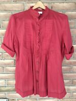 MICHAEL KORS WOMEN'S Size Large Red Short Sleeve Cotton TOP/BLOUSE
