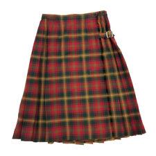 Vintage Fletcher Jones Kilt Tartan Plaid Pure Wool Pleated Buckle Wrap Skirt