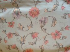 Kew Duckegg Blue/Coral   Floral Cotton 140cm wide Cotton Curtain Fabric  1.8m