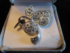 Toned with Rhinestones Hummingbird Pin Silver