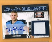 2011 Panini Threads Jake Locker Autograph Jersey Rookie /15 Tennessee Titans RC