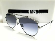 Authentic Alexander McQueen AM0057S 002 Ruthenium/Smoke Lens 62mm Sunglasses