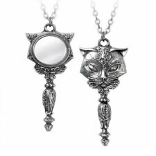 ALCHEMY SACRED CAT MIRROR PENDANT Pewter Gothic Necklace + FREE VELVET POUCH