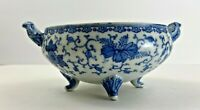 Antique Japanese Seto-Sometsuke Blue & White Bowl w Handles & Feet 1848-1903