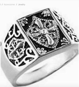 Men's Silver Rhodium Plated  Templar Knights Masonic Ring Size 9 black