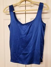 ESCADA Sz 36 M/L NWT Cobalt Blue 100% Silk Tank Top Sleeveless Blouse Shell