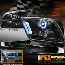 2005-2009 Ford Mustang Halo Projector LED Headlights +  Bumer Signal Light Black