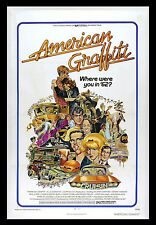 1973 AMERICAN GRAFFITI 27x41 Movie Poster GEORGE LUCAS - MUSEUM LINEN-MOUNTED!!!