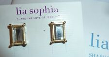 "NWT - LIA SOPHIA ""FAIREST OF THEM ALL"" POST EARRINGS - GOLDTONE MIRRORS - $36"