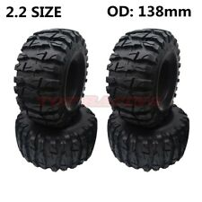 "4PCS SOFT RUBBER 2.2"" TYRE 138MM TIRES W/ FOAM FOR AXIAL WRAITH SCX10 JEEP TRX-4"