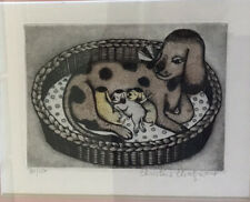 CHRISTINE CHAGNOUX New Mom Dog With Puppies hand-colored etching Signed,numbered