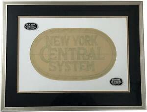 Vtg Original NEW YORK CENTRAL SYSTEM Railroad Framed Patch Artwork Drawing Logo