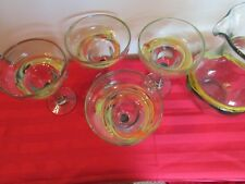 HAND BLOWN MEXICAN MARGARITA PITCHER W/ 4 GLASSES SET MULTI SWIRL GLASS PARTY