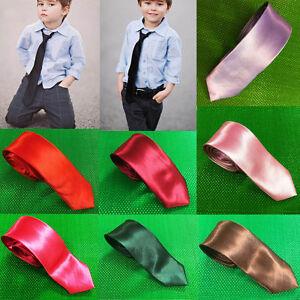 BOYS Plain Satin Silk Ties Kids Children Wedding Christening Party Tie 5cm wide