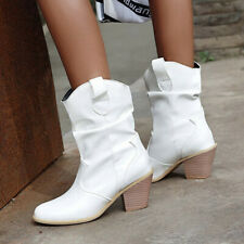 Retro Ladies Slouch Ankle Boots Block Heel Pull on Casual Party Shoes Size 2-8.5