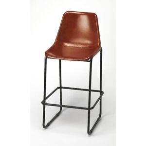 Butler Myles Leather Bar Stool, Medium Brown - 4348344
