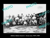 OLD LARGE HISTORIC PHOTO OF SCONE NSW, THE BELLTREE STATION WOOL SHEARERS c1900