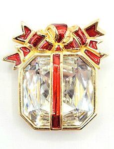 Swarovski Goldtone Red Enamel Clear Crystal Christmas Package Gift Brooch