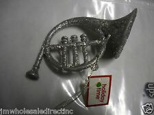 NEW Holiday ! Christmas Decoration Silver Sparkly Horn Ornament