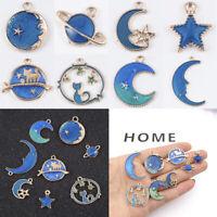 8Pcs Enamel Moon Star Planet Charms Pendant Jewelry Findings Craft DIY Making