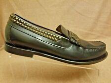 Rare Caminando Men Black Leather Studded Loafers Slip On Moc Toe Shoes Size 12 D