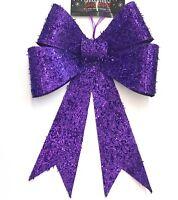 Big Bow Dark Purple Glitter Christmas Wreath Decoration Tree Ornament Topper
