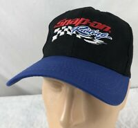 Vtg Snap On Racing Hat Snapback Cap Black Checkered Flag