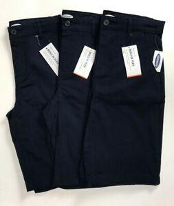 NEW Old Navy Lot of 3 Boys Navy School Uniform Shorts Size 14 Flex