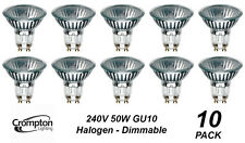 10 Pack x 240V GU10 50W Halogen Downlight Globes / Bulbs Warm White Dimmable