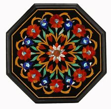 """12"""" Black marble table top inlay Art marquetry Handmade Home decor and gifts"""