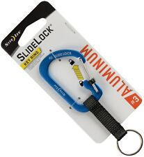 Nite Ize SlideLock Blue Classic Key Ring Aluminum Nylon Strap CSLAW3-03-R6 *NEW*