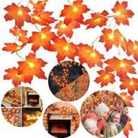 3/4M LED Lighted Fall Autumn Pumpkin Maple Leaves Garland Halloween Home Decor