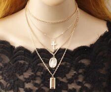 Jesus Cross Necklace Multi Layer Chain Triple Charm Drop Pendant Choker Faith BB
