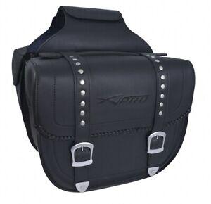 Coppia Borse Laterali Saddle bag Bisacce Rigide Moto Chopper Custom Nero